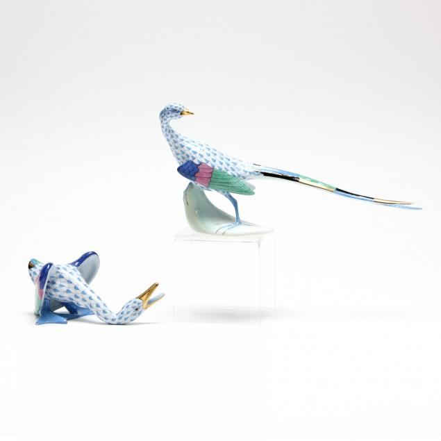 two-herend-bird-figurines