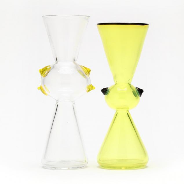 alex-gabriel-bernstein-western-nc-two-art-glass-vases-chalices