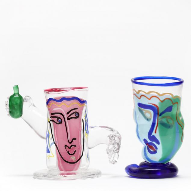 katherine-william-berstein-nj-nc-two-figural-art-glasses