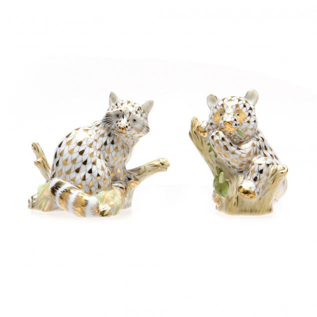 two-herend-gold-fishnet-figurines