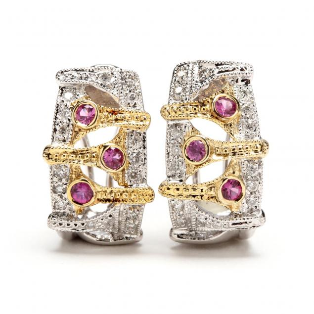 14kt-diamond-and-pink-sapphire-earrings