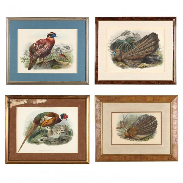 four-hand-colored-lithographs-picturing-pheasants