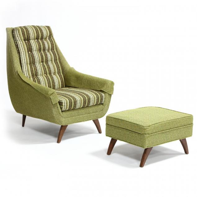 bassett-furniture-mid-century-high-back-chair-and-ottoman
