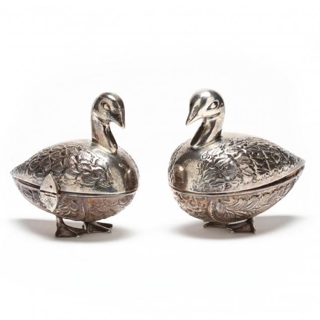 pair-of-egyptian-silver-duck-form-sweetmeat-boxes