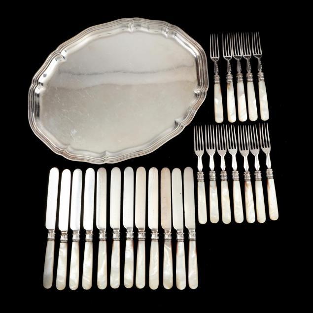 english-fish-set-and-german-silver-tray