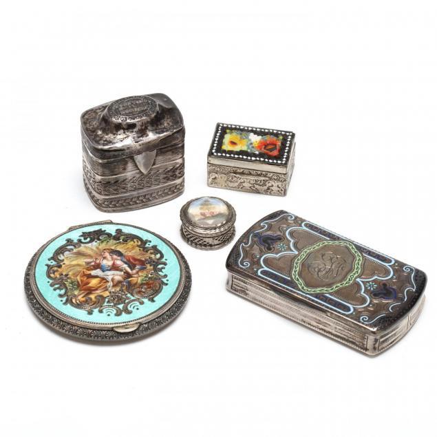five-antique-continental-silver-boxes