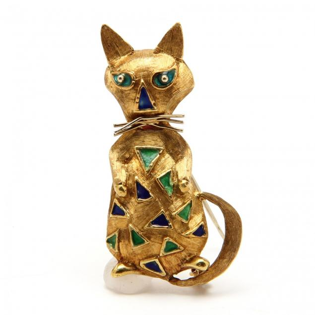 18kt-gold-and-enamel-cat-brooch