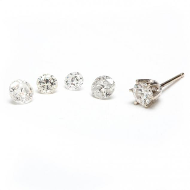 four-loose-diamonds-and-one-diamond-ear-stud