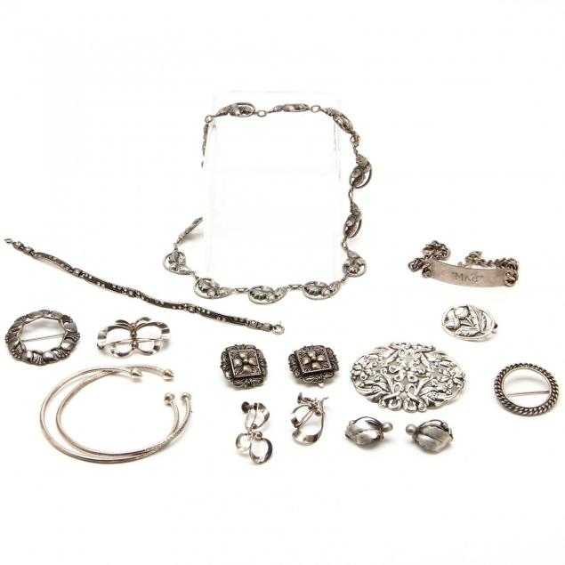 a-group-of-sterling-silver-jewelry