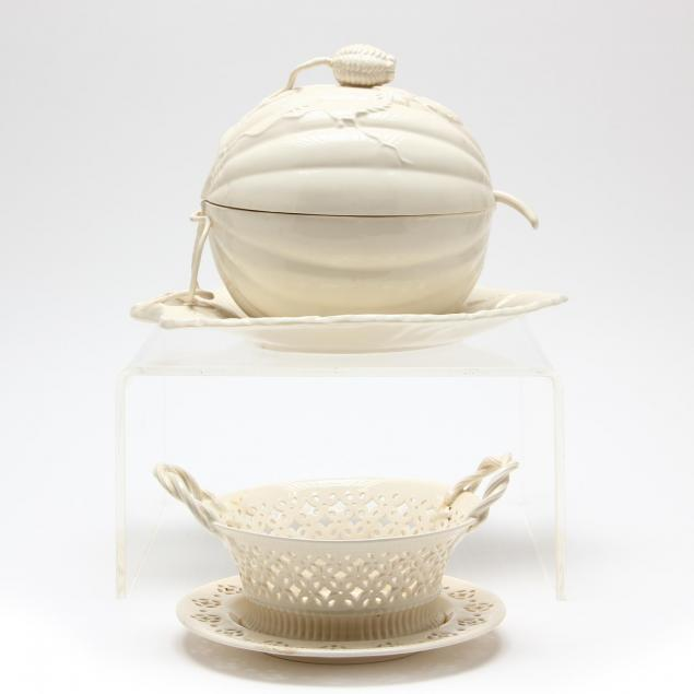leedsware-melon-form-tureen-and-reticulated-basket