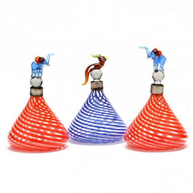 three-venetian-art-glass-perfume-bottles