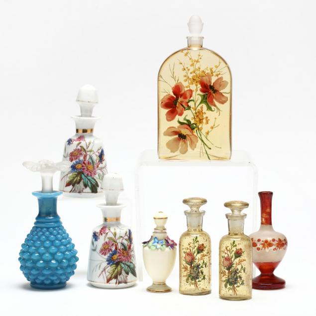 group-of-vintage-perfume-bottles