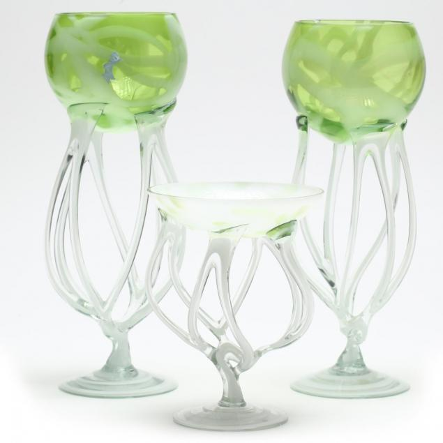 contemporary-sculptural-glass-goblets-and-compote