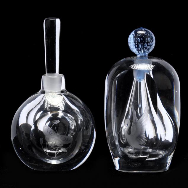 two-orrefors-crystal-perfume-bottles