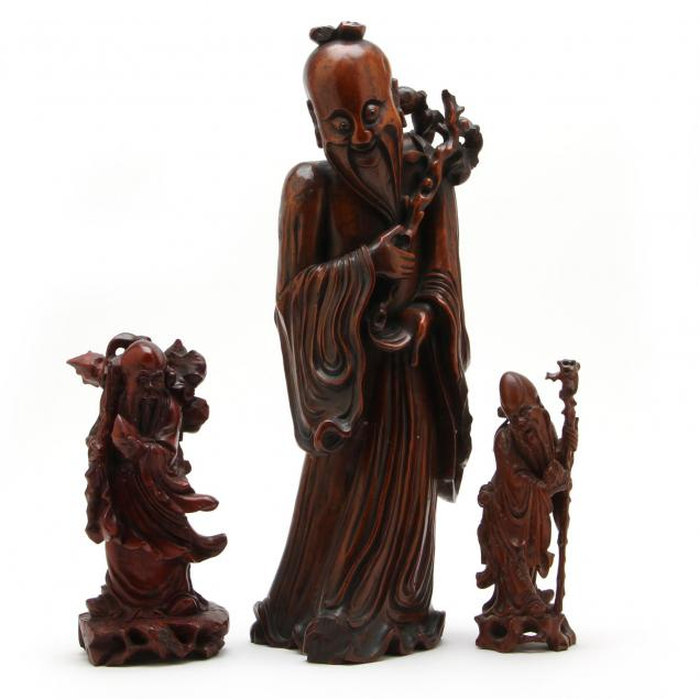 three-chinese-carved-wood-figures