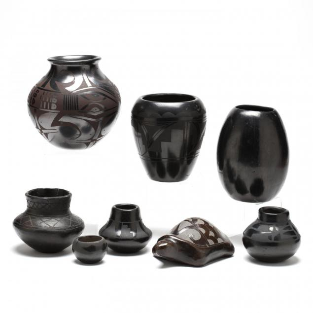 eight-pieces-of-mexican-and-native-american-blackware-pottery