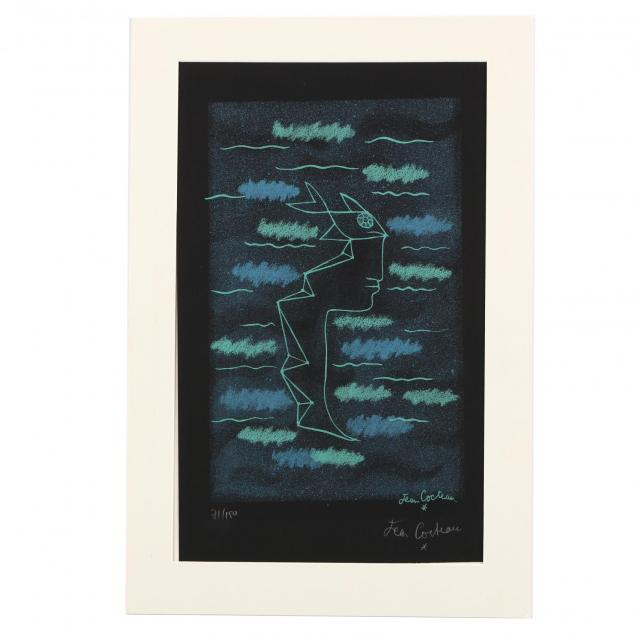 jean-cocteau-french-1889-1963-i-profile-en-poisson-sur-fond-noir-profile-in-fish-on-black-background-i