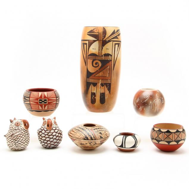 eight-native-american-pottery-pieces