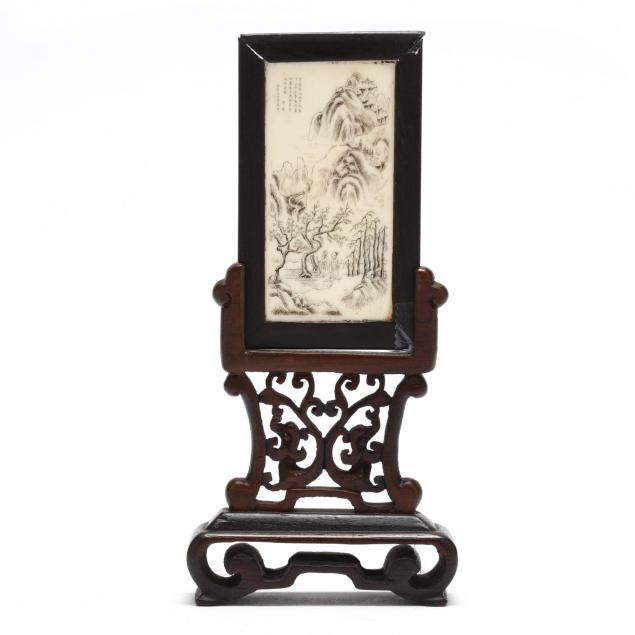 antique-miniature-ivory-panel-on-stand