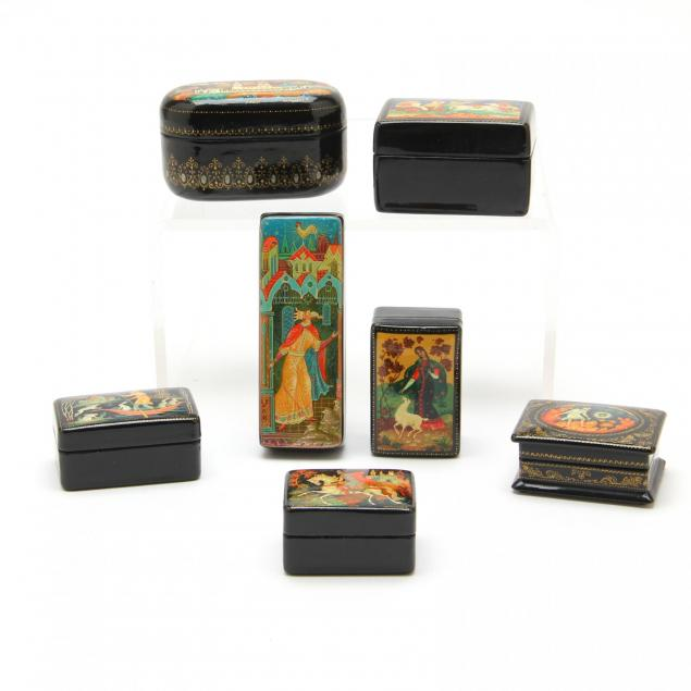 seven-miniature-russian-lacquered-boxes