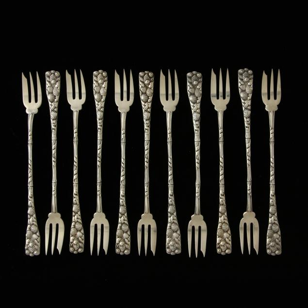 a-set-of-eleven-gorham-sterling-silver-seafood-cocktail-forks-with-seashell-motif