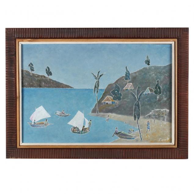 fritz-lamothe-haitian-20th-century-beach-with-fishing-boats