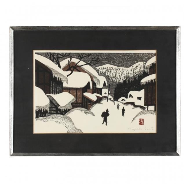 kiyoshi-saito-1907-1997-village-in-snow
