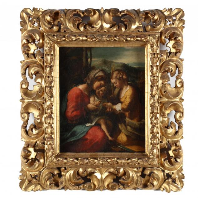italian-old-master-painting-of-the-madonna-and-child-with-saint-catherine