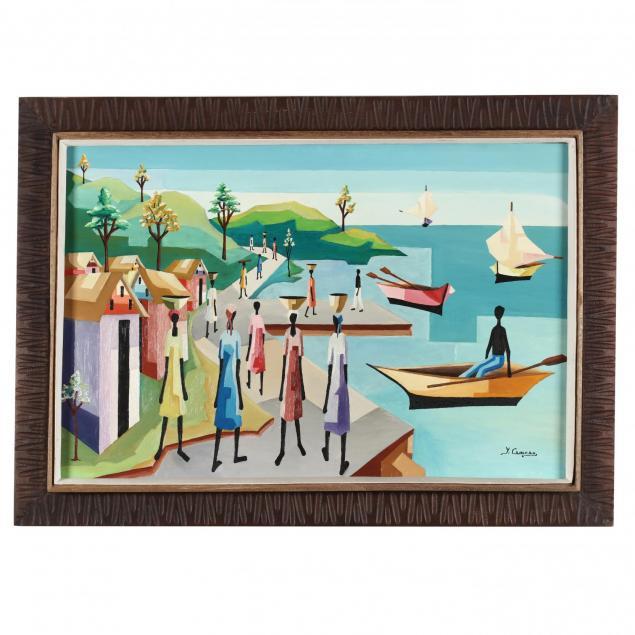 yves-cameau-haitian-20th-century-cubist-style-harbor-scene