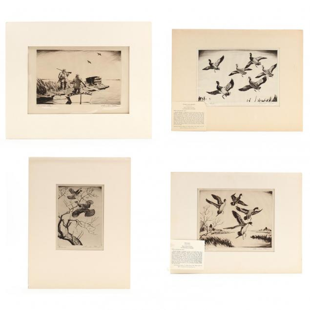 churchill-ettinger-american-1903-1985-four-etchings-picturing-fowl