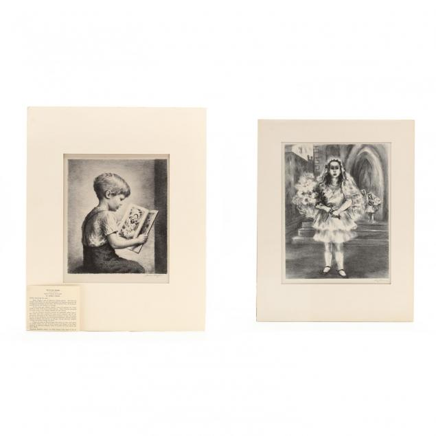 two-associated-american-artists-lithographs-picturing-children-chapin-and-harmon