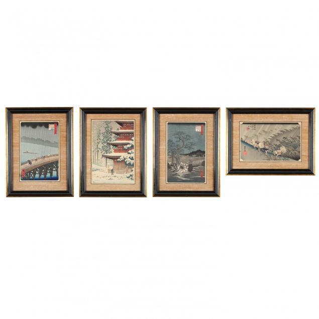 a-group-of-japanese-woodblock-prints-by-utagawa-hiroshige-and-kawase-hasui