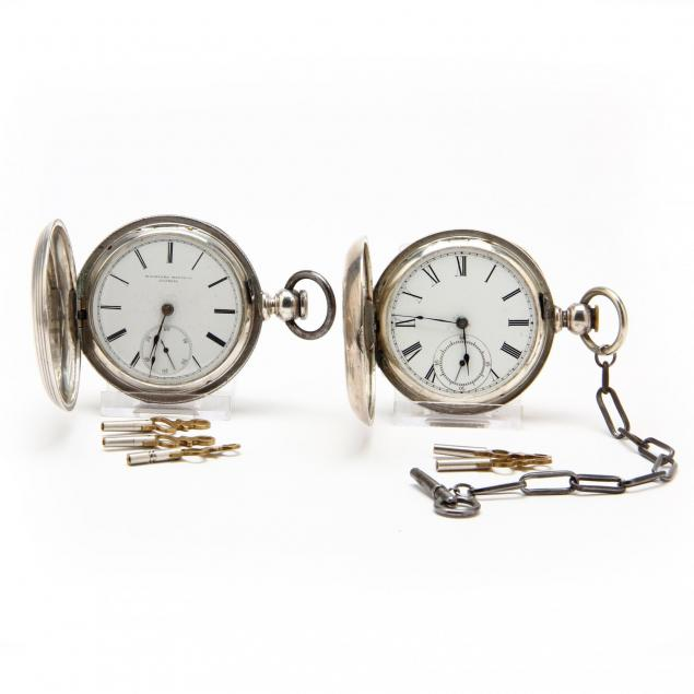two-antique-coin-silver-hunter-case-pocket-watches