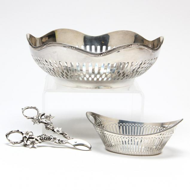 two-continental-silver-baskets-and-a-pair-of-grape-shears