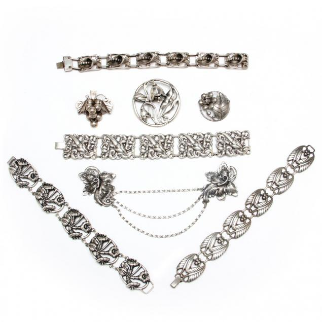 eight-pieces-of-danish-style-sterling-silver-jewelry