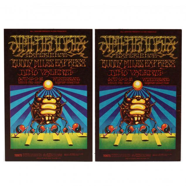 two-jimi-hendrix-experience-buddy-miles-express-winterland-concert-postcards-bill-graham-1968