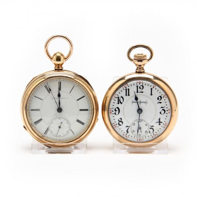 two-gold-filled-open-face-pocket-watches-illinois-watch-co