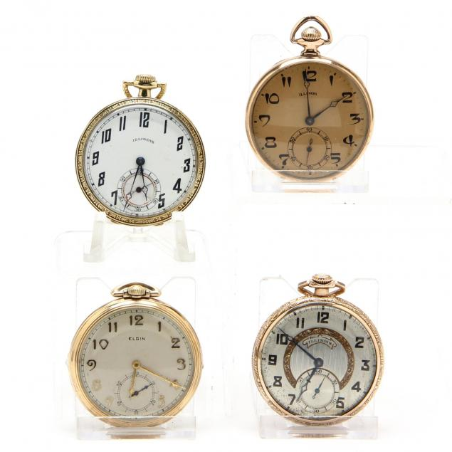 four-vintage-open-face-pocket-watches