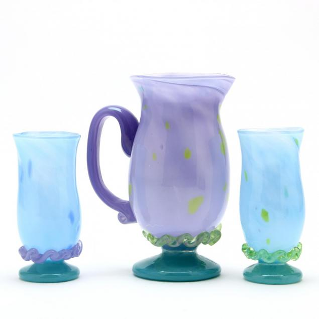 arienne-nc-20th-century-art-glass-pitcher-and-glasses