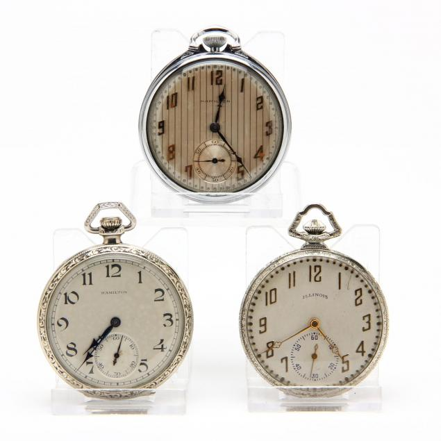 three-vintage-open-face-pocket-watches