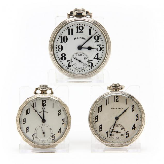 three-vintage-gold-filled-open-face-pocket-watches