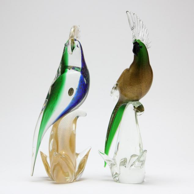 two-murano-blown-glass-parrots