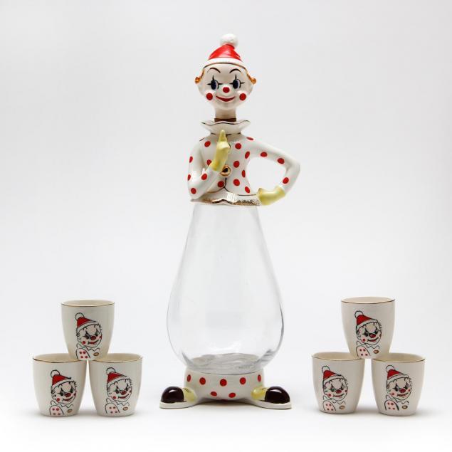 a-vintage-1958-kitschy-clown-decanter-set