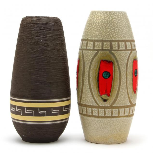 two-mid-century-conical-pottery-vases