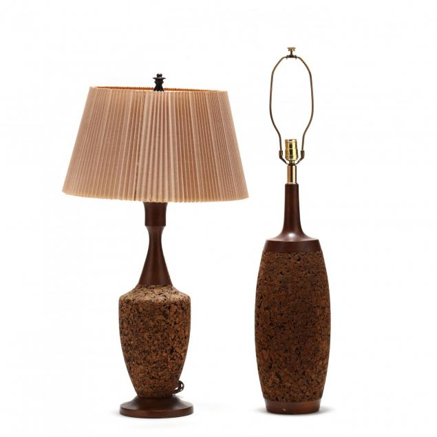 two-mid-century-cork-lamps