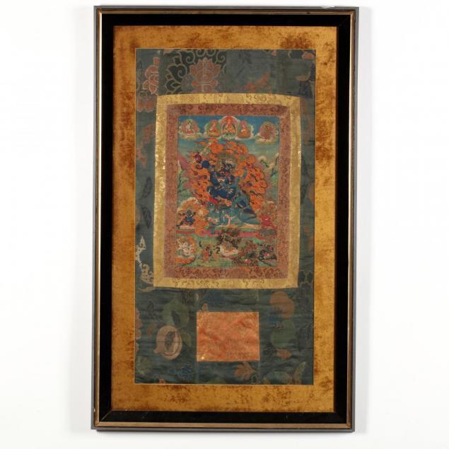 tibetan-thangka-of-yama-dharmaraja-with-chamundi