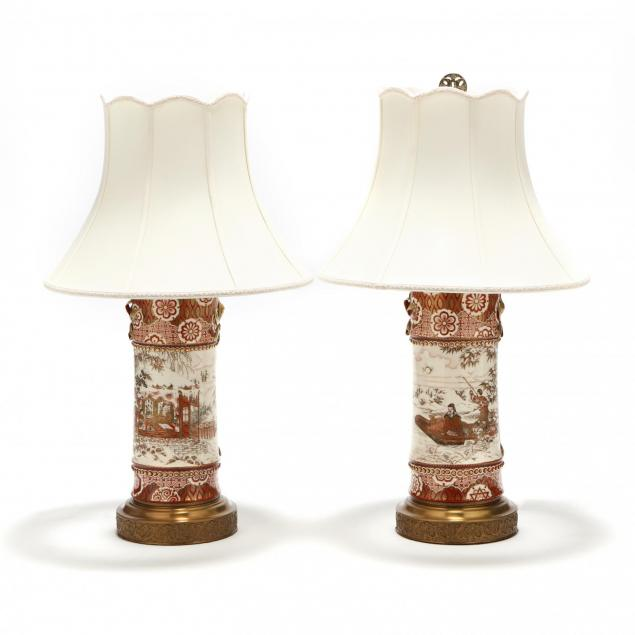 a-pair-of-japanese-porcelain-kutani-vases-mounted-as-lamps
