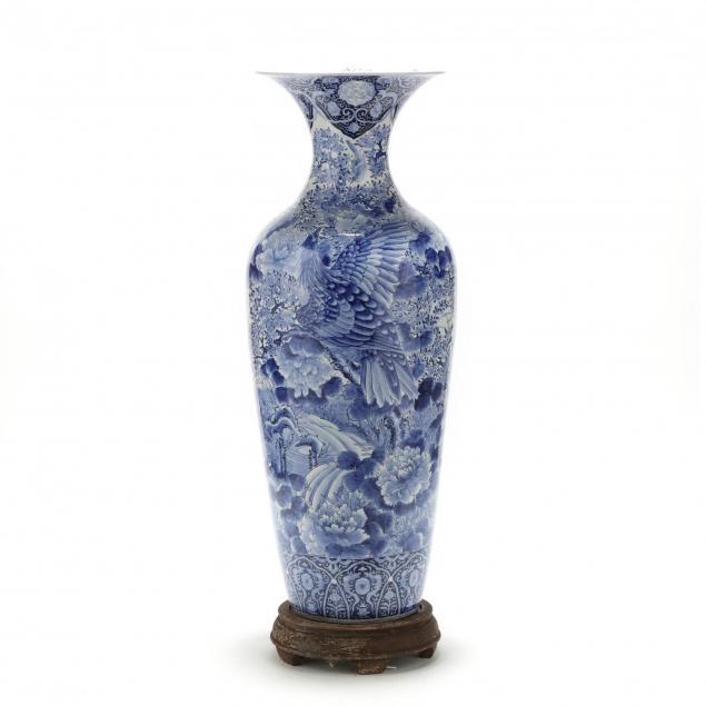 japanese-arita-blue-and-white-floor-vase