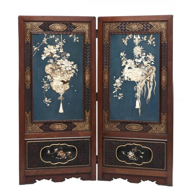 two-panel-japanese-inlaid-wood-screen