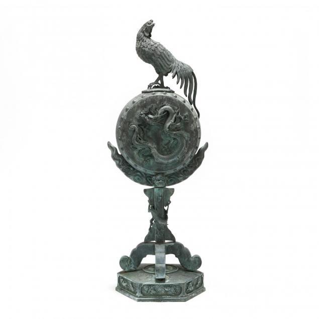 japanese-bronze-i-kankodori-i-cock-on-a-drum-sculpture